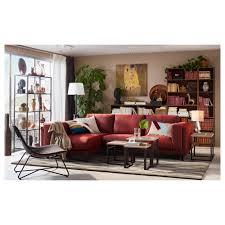 nockeby sofa with chaise left tallmyra white black chrome