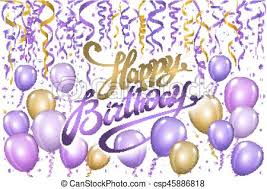 Violet Gold Balloons Happy Birthday Background Vector
