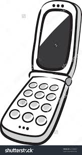 Flip Phone Clipart Black And White