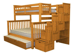 Bedz King Stairway Twin over Full Bunk Bed with Trundle & Reviews