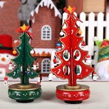 Rotating Christmas Tree Red Green Music Box New Year Gift For Musical Base