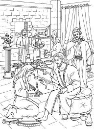 Coloring Page Anointing The Feet Of Jesus
