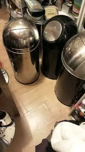 großer mülleimer küche schwarz silber 75 cm