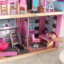 Costway Kids Girls Wooden Dolls House Children Furniture Fits Doll 3