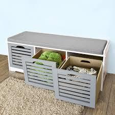 Bench Shoe Storage by Amazon Com Sobuy Storage Bench With 3 Drawers U0026 Seat Cushion