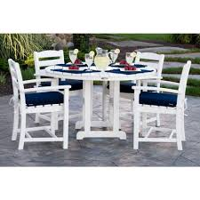 Outdoor Cushions Sunbrella Home Depot by Polywood La Casa Cafa White 5 Piece Plastic Patio Dining Set With