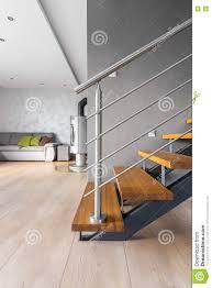 intérieur spacieux de villa avec l idée en bois d escalier image