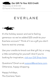 Free $20 Dollar Credit From Everlane (YMMV) : Frugalmalefashion Everlane Reviews Personalized Birthday Email From Missguided With Discount Iron Chef Newburgh Ny Coupon Hayabusa Fightwear Promotion Codes 20 Off Student Discount Code Wow Deals Amf Bowling Lanes Altamonte Springs Fl Papa Johns Visa Amata Code Sole Mechanics Pin On Branson Coupons Online How To Get Journeys Valley Vet Discounts West Elm Gift Voucher Uk Couponinggirl Stephanie Buy Halloween Costumes Usa