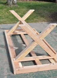 Build This DIY Outdoor Table Featuring A Herringbone Top And X Brace Legs Would Also Make Great Rustic Dining