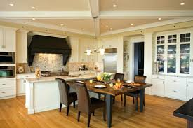 Kitchen Dining Room Ideas Open Plan Design With Brown Chair And White Ceiling Lighting