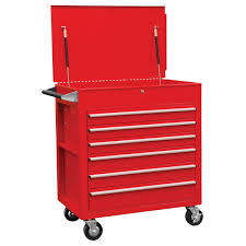 6 Drawer Full Drawer Professional Duty Cart - Red | Sunex Tools | 8057