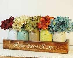 Home Sweet Farmhouse Decor Kitchen Mason Jar Box Painted Jars