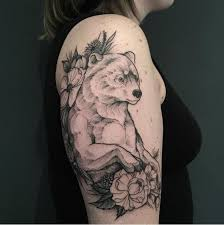 This Bear Tattoo Has A Face Of But Body Masculine Ape Or Human Such Design Will Perfectly Suit On Girls