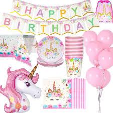 Unicornio Decoraciones Cumpleaños Suministros Vajilla Para 16 Personas 1 Paño Tabla Cubierta 16 Copas 16 Platos 16 Servilletas 1 Happy Birthday