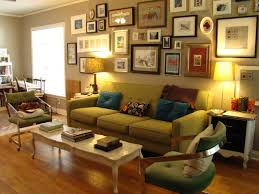 Brown Couch Decorating Ideas Living Room by Eclectic Living Room With Curved Green Sofa Decorating Ideas