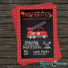 Firefighter Fireman Party Invitation – Kindred Creations