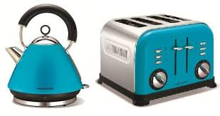 Affordable Morphy Richards Cyan Cordless Traditional Kettle 4 Slice Toaster Set