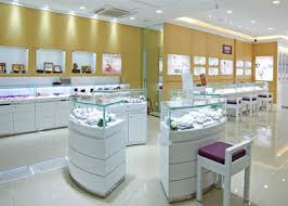 Retail Shop Lighted Commercial Jewelry Wall Display Case High Glossy White Color