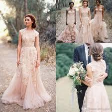 vintage 2017 bohemian blush lace sheer wedding dresses ruffles