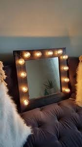 Black Wood Rustic Light Up Makeup Vanity Mirror Make Beauty Room