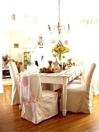 Farmhouse Dining White Table Chic Chair Covers Room Casual