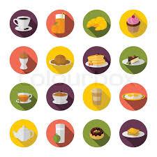 Breakfast Food And Drink Icon With Tea Coffee Croissant Sandwich Flat Set Vector Illustration