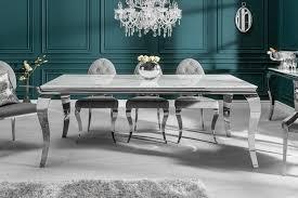 riess ambiente esstisch modern barock 200cm grau weiß glasplatte in marmor optik edelstahl beine für 10 personen kaufen otto