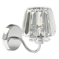 chrome wall light with clear glass shade