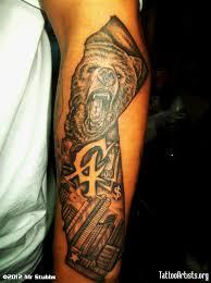 Black And Grey Ink California Tattoo On Left Sleeve