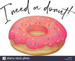 Phrase I love donut with strawberry donut illustration Stock Image