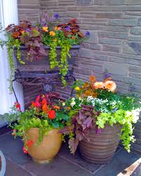 Flower Pots Ideas For Front Porch Awesome Flowers Design With Brown Round And Square