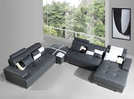 Grey Leather Sectional Living Room Ideas by Phantom Contemporary Grey Leather Sectional Sofa W Ottoman
