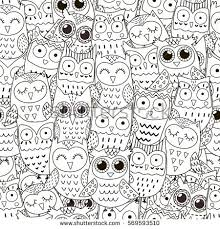 Doodle Owls Seamless Pattern Black And White Cute Background Great For Coloring Book