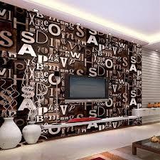 beibehang 3d englisch brief tapete wohnzimmer bar kaffee shop kleidung barber shop studio retro pvc tapete dekoration