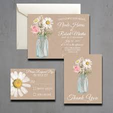 Rustic Mason Jar Wedding Invitations Combined With Beautiful Flowering Painting Decoration On Sweet Brown
