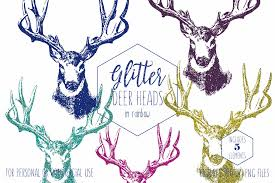 GLITTER DEER CLIPART Commercial Use Clip Art Deer Antler Clipart Buck Stag Head Gold Rustic Images Blue Aqua Pink Digital Graphics
