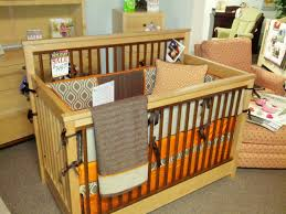 Bratt Decor Venetian Crib Conversion Kit by Orange Brown And Tan Custom Bedding On Display At Kids N Cribs In