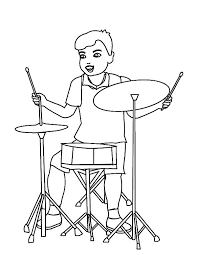 Drummer Boy Facing Simple Drum Set Colouring Page Coloring