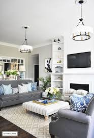 Living Room Grey And Down Curtain Plain White Floor Tile Navy Kitchen Walls Decorating With Light