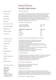 Receptionist Resume Security Guard Student 5