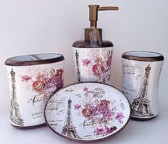 new paris bathroom accessory set eiffel tower french rose soap