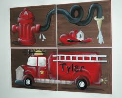FIRE TRUCK Wall Art Mural For Boys Rooms | Gavins Room | Pinterest ...