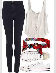 Blouse Bandana Print Shirt Jeans Hat Colorful Summer Outfits Red Handbag Converse Beach Cream Headphones Girly