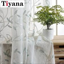 rustikalen bestickte blätter design sheer vorhänge für wohnzimmer erker küche vorhang silber gewinde p055x