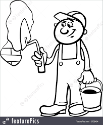 People at Work Black and White Cartoon Illustration of Man Worker or Workman with Trowel