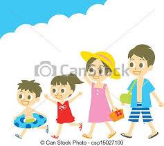 Family In Swim Wear Summer Vacatio Vector