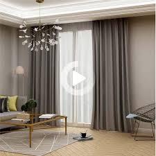 modern grey blackout curtain solid color silk imitation