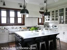white kitchen design and glass door cabinet with modern lighting