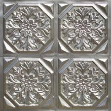 108 faux tin ceiling tile glue up 24x24 silver decorative