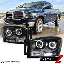 06-08 Dodge Ram 1500 2500 3500 Black Dual Halo Projector LED ...
